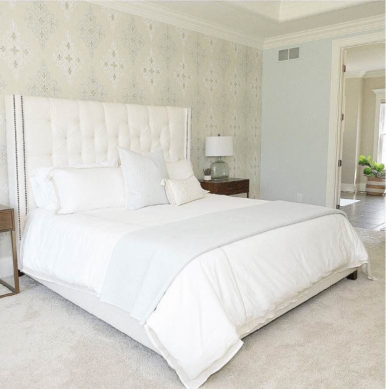 Pottery Barn Harper Upholstered Bed.