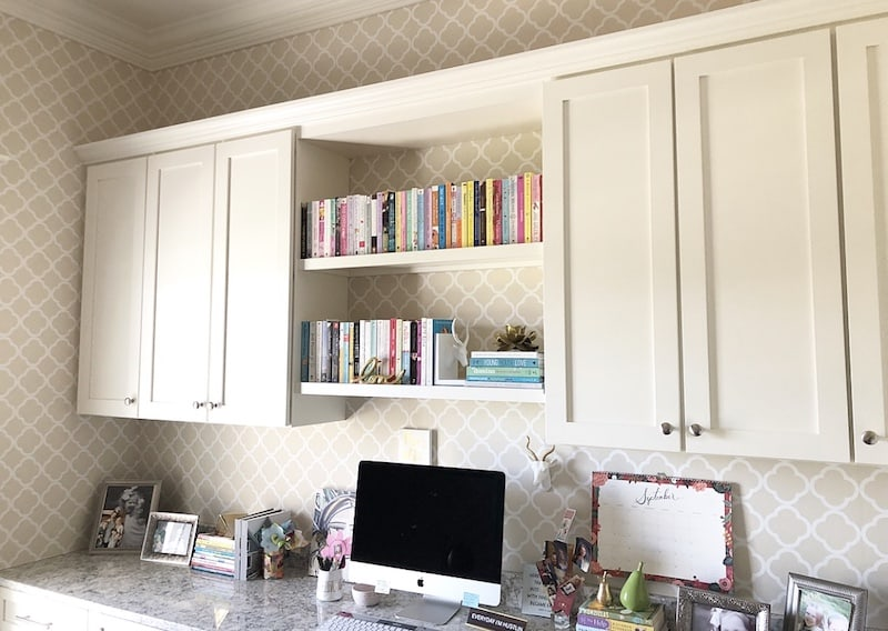 how to fill space between cabinets and ceiling in feminine office with schumacher morocco wallpaper