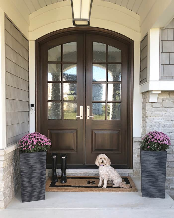 my arched real wood double doors and covered front porch with mini goldendoodle!