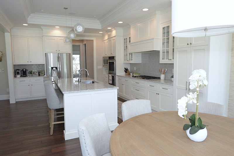interior trim and molding tray ceiling white kitchen