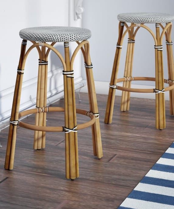 woven, blue, and navy backless counter stool