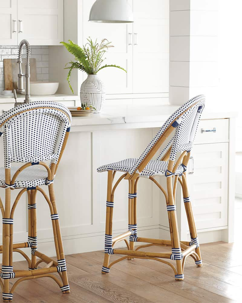 Serena and Lily Riviera Counter Stool Navy and White
