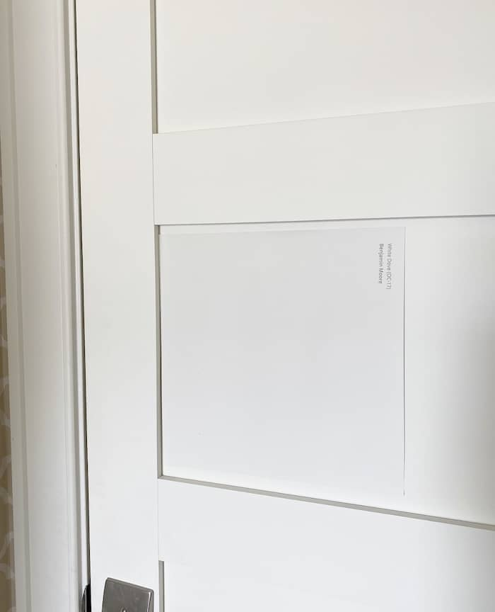 peel and stick paint sample for Benjamin Moore White Dove