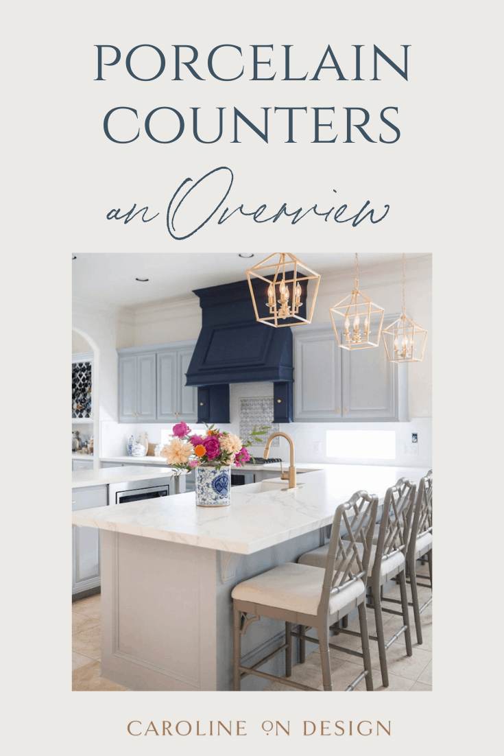 Pinterest pin featuring a beautiful kitchen with porcelain countertops